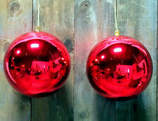 """2 - 8'' LARGE OVERSIZE RED CHRISTMAS BALL PLASTIC SHINY 200mm ORNAMENTS 8"""""""