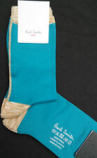 Paul Smith Women Italian Silk Socks Ankle Length Vertical Space Turquoise F625