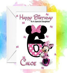 Personalised Birthday Card Minni Mouse Number any name/relation/age
