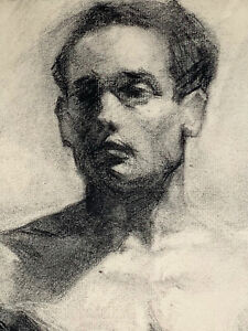 Early 20th Century French Academic Male Nude Charcoal Drawing G. Courtin Academy