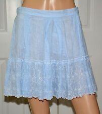 120% LINO Skirt Blue Stripe Linen Pleated Embroidered Hem sz 42 NEW