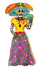 Tin Painted Catrina With Mirror in Her Skirt #2202