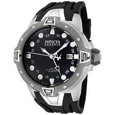 New Mens Invicta 0651 Reserve Sea Excursion GMT Black Polyurethane Watch