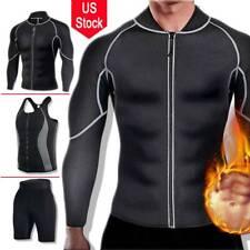 Men's Exercise Sweat Hot Dress Shirt Sauna Suit Neoprene Slimming Fitness Pants