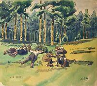 Impressionista Max Jaubert Acquerello Mittagspause Wanderer Te Rast Siesta Wald