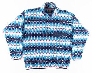 Patagonia Mens Large Synchilla Snap T Pullover Fleece Jacket Deep Ocean Tribal