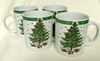 """Set of 4 Christmas in the Park Porcelain 3 3/4"""" Mugs Cups China Excellent"""