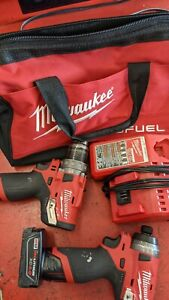 Cordless Hammer Drill Impact Driver Set Combo Kit with 2 Batteries Milwaukee M12