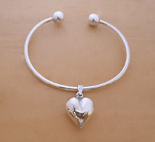 925 Sterling Silver Screw End Torque Bangle & Heart Charm, 63 mm & 2.5 mm Thick