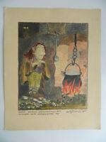 Disegno Illustrazione Acquerello Firmato Gaston Brandt Det Gamla Bergatrollet C.