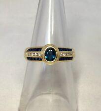 18k Blue Sapphire & Diamond Designer Ring 1ct Yellow Gold Rubover Bezel Set
