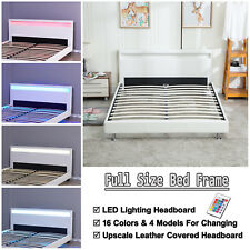 Simple Modern Contemporary White Bed Full Size Platform with Led Lights / New