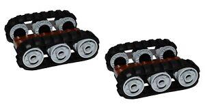 LEGO 4 x Black Rubber Caterpillar Treads + 12 Drive Wheels SMALL digger tank EXC