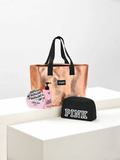 VICTORIAS SECRET PINK TOTE AND BEAUTY SET ROSE GOLD NIP