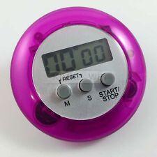 LCD Digital Kurzzeitmesser Eieruhr Küchenuhr Countdown + Clip Rund (Lila)