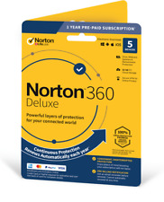 NEW Norton 360 Deluxe | 5 Devices | 1 Year + Secure VPN -  *5 Min Email Delivery