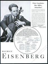 1941 Maurice Eisenberg photo cello recital tour booking vintage print ad