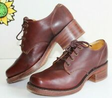 Vintage FRYE Woman's Heel Oxford Shoes, 1970's Brown Leather. Size 8.5 USA Made.