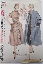 1951 Sewing Pattern Simplicity #2152 Size 12 Bust 30 Dress/Swing Coat Guernsey