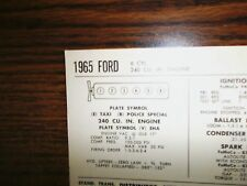 1965 Ford SIX Series Taxi & Police Special Models 240 CI L6 Tune Up Chart