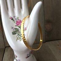 Bracelet Trifari Vintage Bangle Brushed Shiny Gold ToneSigned