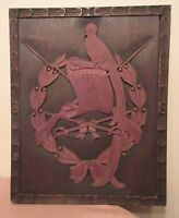 antique hand carved wood Folk Art Independence wall plaque art sculpture 1821