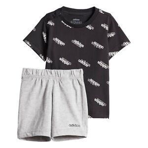 adidas boys baby/infant black & grey linear shorts & top set. Various sizes!