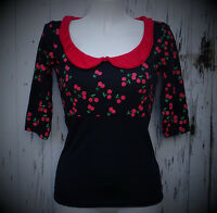 Black Cherry 3/4 Sleeve Pin Up Girl Top - 8 10 12 14 Rockabilly 1950s Retro