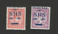 CROATIA -SHS YUGOSLAVIA -2 MH  STAMPS - OVERPRINT - SIGNED - HIGH CV - 1918. (9)