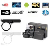 MXQ Pro Android Streamer 4K 64Bit  Quad Core Smart TV Box S905W + Indoor Antenna