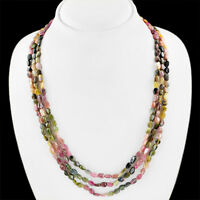 TRUELY WONDERFUL 233.65 CTS NATURAL WATERMELON TOURMALINE 3 LINE BEADS NECKLACE