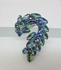 Vintage Glass Rhinestone Cabochon Brooch Pin Blue Green Curved D&E Repaired