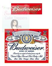 BUDWEISER BOTTLE LABEL ICING CAKE TOPPER DECORATION SET