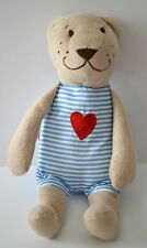 IKEA Fabler Bjorn Blue White Stripe Heart Teddy Bear Lovey Plush 9""