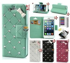 COVER CUSTODIA FLIP LIBRO PELLE PORTAFOGLIO per APPLE IPHONE 4 4S & PENNINO
