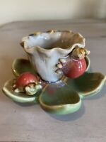 Vintage Ceramic Candle Holder White Lotus Flower Two Red Ladybugs Handmade 1980s