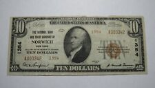 $10 1929 Norwich New York NY National Currency Bank Note Bill! Ch. #1354 VF