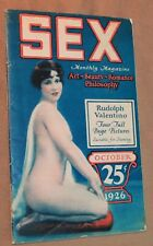 SEX Monthly Magazine OCTOBER 1926 Pulp VERY WELL MAINTAINED Bertrand RusselL