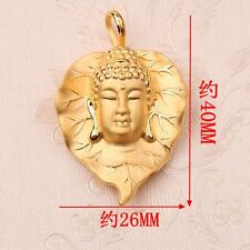 New 24K Yellow Gold Pendant Bless Leaf With Buddha 4.7-5g