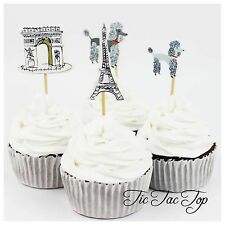 12 x France Paris Eiffel Tower CUPCAKE CAKE TOPPERS Party Food Picks
