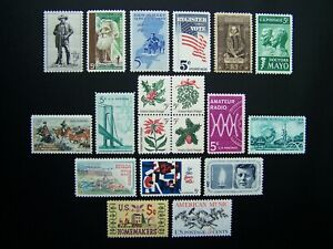 US STAMPS 1964 YEAR COMPLETE SET, SCOTT # 1242-1260. OG., MNH