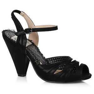 Bettie Page BP403-MARIA Black 4 inch Glitter Shimmer Material Sandal