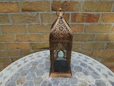 Moroccan Style Metal Painted Copper Lattice Plain Glass Candle Lantern.