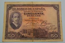 "50 PESETAS 1927 SPAIN SELLO REPUBLICA . ALFONSO XIII BANKNOTE PICK# 80 ""G"""