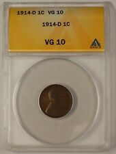 1914-D US Lincoln Wheat Penny 1c Coin ANACS VG-10