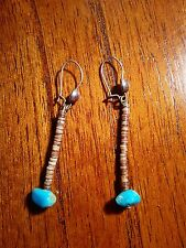 #C17. Navajo Sterling silver Heshi and turquoise earrings 2 inches long