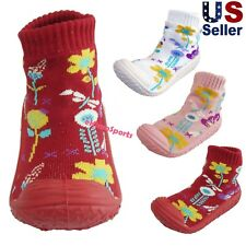 Infant Baby Girls Flowers Anti-slip Rubber First Walking Sock Shoes