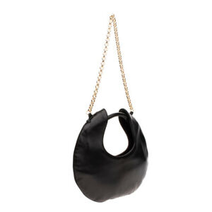 RRP €320 BY FAR LUNE Leather Shoulder Hobo Bag Two Tone Chain Strap