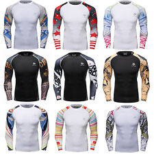 Men's Workout Compression Tops Gym Running Skin Base Layer Long Sleeve Jersey