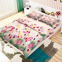 3D Lotus Zeichnen 469 Bett Kissenbezüge steppen Duvet Decken Set Single DE Carly